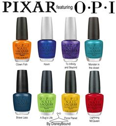 """Each shade can be found on OPI.com!  Clown Fish - """"In my back pocket""""  Kevin - """"Magic""""  To Infinity and Beyond - """"Temptation""""  Monster in the Closet - """"Teal the cows come home""""  Brave Lass - """"Ski teal we drop""""  A Bug's Life - """"Gargantuan Green Grape""""  Pizza Planet - """"Need sunglasses?""""  Lightning McQueen - """"Big red apple"""""""