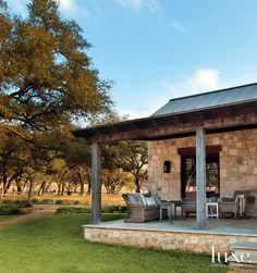 Stone Porch and Exterior of Neutral Transitional Home Hill Country Homes, Texas Hill Country, Decks, Stone Porches, Gazebos, Building A Porch, Building Homes, Relax, Transitional House