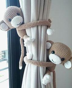 Monkey curtain tie back, cotton yarn crochet monkey, amigurumi. Monkey curtain tie back cotton yarn crochet monkey by thujashop Crochet With Cotton Yarn, Crochet Yarn, Crochet Toys, Crochet Amigurumi, Crochet Animals, Free Crochet, Baby Bedroom, Baby Boy Rooms, Baby Boy Nurseries