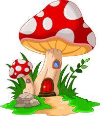 mushroom house for you design vector art illustration