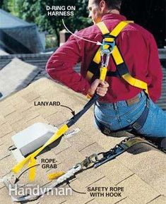 Be safe—use roof brackets, a safety harness and commonsense rules Health And Safety Poster, Safety Posters, Roof Safety Harness, Roof Brackets, Home Safety Tips, Safety Rope, Framing Construction, Safety And Security, Video Security