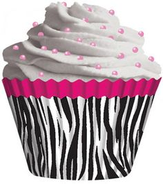 Zebra and hot pink cupcake liners
