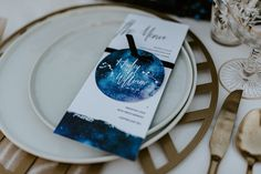 Menu and placecard with celestial watercolors Wedding Signs, Wedding Table, Ring True, Table Signs, Second Weddings, Out Of This World, Dancing With The Stars, Cosmic, Watercolors