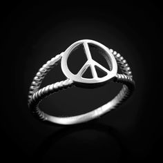 White Gold Peace Sign Dainty Ring