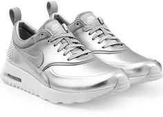 Nike Thea Premium Leather Sneakers in Silver... this is the right way to do metallic! Get the look on ShopStyle