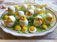 Hard boiled egg chicks - great fun for an Easter meal