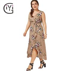 e98eb3bc8edb6 GIYI Plus Size Floral Print Beach Maxi Long Dress Summer Sexy V Neck Boho  Wrap Tank Sundress