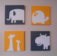 Yellow and gray modern Zoo Animal Nursery Art Canvas Carter's inspired Hand Painted Set of by midwooddesign  Choose your custom color scheme