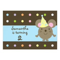 Customizable Party Mouse Birthday Party Invitatons Announcements