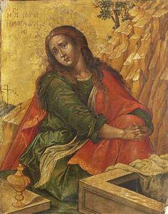 Saint Mary Magdalene - Konstantinos Tzanes, c. Religious Images, Religious Art, Religious Icons, Santa Maria Magdalena, Greek Icons, Christian Artwork, Byzantine Art, Mary Magdalene, Noli Me Tangere