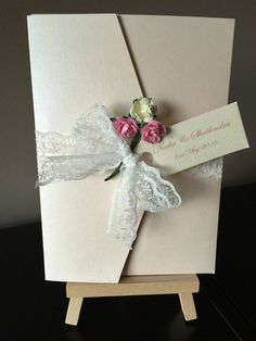 Nadia pearlescent pocketfold with lace tie and tea roses per invitation which includes presentation box Invitation Examples, Tea Roses, Color Schemes, Wedding Invitations, Presentation, Gift Wrapping, Box, Lace, Design