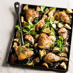 Taste Mag | Roast chicken with sweet potatoes and Swiss chard @ http://taste.co.za/recipes/roast-chicken-with-sweet-potatoes-and-swiss-chard/