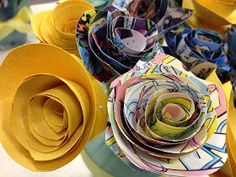 Life With a Grin: Finding the right paper flower... to be made from comic books...