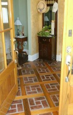 This combination of brick and wood is perfect for and entryway or enclosed sun room