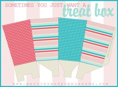 Peonies and Poppyseeds: Coral and Teal Treat Box Printable