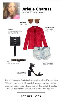 Arielle Charnas, Shop This Look, teddyboy glasses by spitfire, le peasant polka dot top by frame denim, roller short by one teaspoon, forune heel by bianco, zalie woven belt by A.D.A., X vanessa mooney buckle clutch by Sancia
