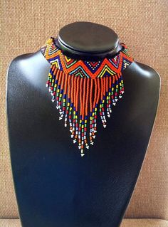 Zulu beaded choker chandeliers necklace by ZuluBeads on Etsy