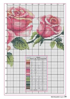 Photo of Gallery. Easy Cross Stitch Patterns, Simple Cross Stitch, Cross Stitch Rose, Cross Stitch Flowers, Cross Stitching, Cross Stitch Embroidery, Rico Design, Crochet Borders, Hand Embroidery Patterns