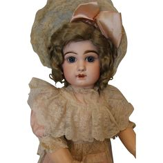 Antique 28 Inch Size 13 French Tete Jumeau Bebe Doll C/M Straight from turnofthecenturyantiques on Ruby Lane