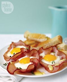 Baked eggs in ham cups (with easy hollandaise sauce) - Style At Home
