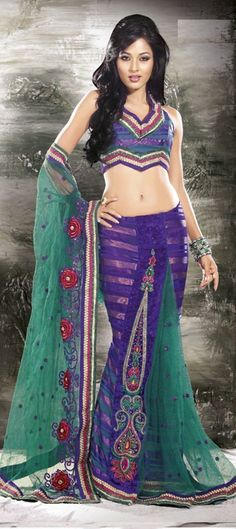 Awesome colour combination...specially for wedding wears..You Are Sure To Make A Strong Fashion Statement With This Navy Blue, Teal Blue Jacquard & Net Saree.....  Available at-> http://www.indianweddingsaree.com/product/77993.html