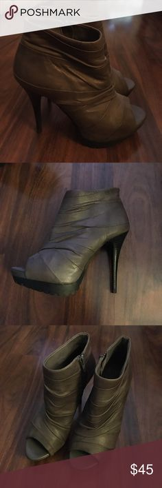 """Miss Sixty 'Jaiden 2' Peep Toe Bootie Miss Sixty 'Jaiden 2' Peep Toe grey Bootie. Zip closure. Approx. heel height: 4"""" with 1 1/4"""" platform. Gently worn, perfect condition. Very comfortable! Miss Sixty Shoes Ankle Boots & Booties"""
