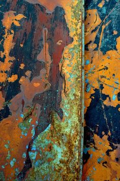 The title 'Miyu' translates to 'beautiful truth' in the Japanese language. Contemporary abstract composition using digital images of rusted and weathered metal surfaces. Using digital photography imag