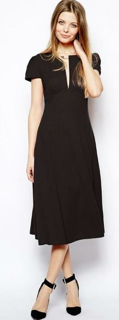 ASOS Midi Dress With Sexy Neckline (but would put an tank underneath for modesty...)