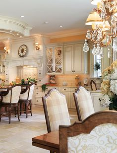 Pretty kitchen and dining room.