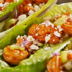 buffalo shrimp Meet your new favorite low-carb lunch. It's super-flavorful, fresh, and ready in under an hour! Read on to see the recipe for Buffalo Shrimp Lettuce Wraps from ! Shrimp Lettuce Wraps, Lettuce Wrap Recipes, Fish Recipes, Seafood Recipes, Low Carb Recipes, Chicken Recipes, Cooking Recipes, Healthy Recipes, Simple Shrimp Recipes