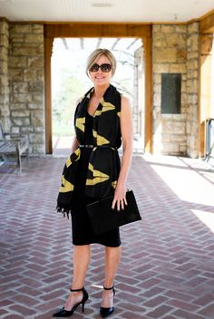 Style the Lions in Four Ebury Temple Print Scarf by cinching it with a skinny belt around your waistline and pairing it with the Amsterdam Suede Clutch in Black.   www.lionsinfour.com   Lions in Four Style Guide