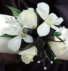white orchid with red rose | White Sweetheart Rose and White Orchid Corsage - Black