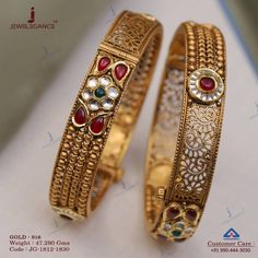 Decorate Your wrist. Get in touch with us on Gold Bangles Design, Gold Jewellery Design, Diamond Jewellery, Gold Jewelry, Wedding Jewelry, Antique Jewellery Designs, Antique Jewelry, Gold Mangalsutra Designs, Diamond Mangalsutra