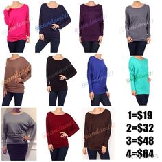 More Colors!  Long Sleeved Dolman Tops Colors: Fuschia, Navy, Plum, Steel, Mocha, Black, Royal Blue, Mint, Grey, Wine, Chocolate Brown Check with me for sizes and availability. Or, feel free to check my closet.  Boutique Tops