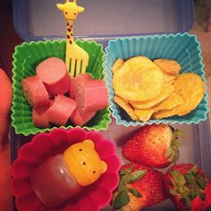 #tyketuesday  Today the kiddos had @applegate hot dogs, plantain chips & side of strawberries! The little bear has a couple squirts of ketchup  #paleo #kidspproved #jerf #keepitpaleo #wholefood #schoollunch #lunch #kids K