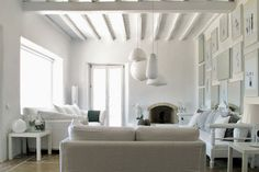 White living room - TEXTURE on top of white to make it stand out.