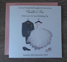 Handmade Personalised A5 Wedding Card Hand Drawn Kilt Design inc A6 Money Card