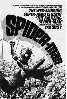The Amazing Spider-Man is the first live-action TV series based on the popular comic book The Amazing Spider-Man, not counting Spider-Man's appearances on the educational The Electric Company series, and was shown in the USA between 1977-1979.[1] It consisted of 13 episodes, which included a pilot movie in the fall of 1977; five one-hour episodes in the spring of 1978; six one hour episodes aired in the fall of 1978 and early 1979; and then a final two-hour episode in the summer of 1979.