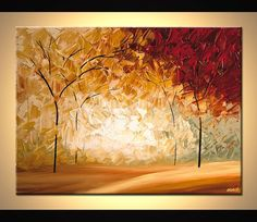 Tree Painting Landscape painting abstract painting large painting by Osnat Tzadok red, cream and sage impasto ready to hang Canvas Painting Landscape, Landscape Drawings, Large Painting, Landscape Art, Canvas Art Prints, Canvas Wall Art, Modern Landscaping, Modern Wall Art, Modern Artwork