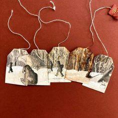 Tea Bag Art, Tea Art, Tee Kunst, Used Tea Bags, Monster Illustration, Colossal Art, Recycled Art, Artist Painting, Textile Art