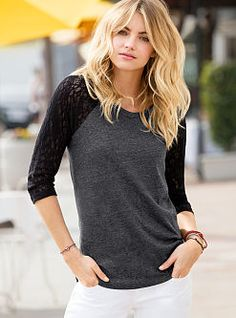Play it sweet. This Lace Baseball Tee from Victoria's Secret has feminine charm, thanks to stretchy lace raglan sleeves. With a hot-now easy fit, this style is a graceful addition to your downtime wardrobe.