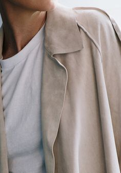 neutral suede jacket & white tee #style #fashion