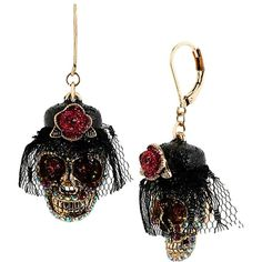 Betsey Johnson Creepshow Skull Flower Drop ($25) ❤ liked on Polyvore featuring jewelry, earrings, new arrivals, pink, pink rose earrings, skull jewelry, pink skull earrings, skull earrings and antique gold jewelry