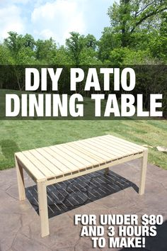 How to build a patio dining table. Minimal cuts and only cost $80 to make!! Stain or paint. LOVE this!