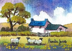 ACEO Original Watercolour Welsh Cottage by Pamelajonesartstudio