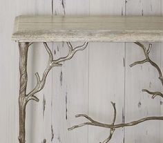 Silver Branch Console Table Western Sofa Tables   Cast Aluminum Table Has A  Silver Metal Leaf