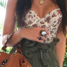 floral bustier and paperbag shorts