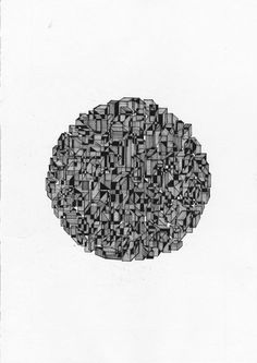 Original Art Geometric Abstract Pen Drawing Home/ by burninglucy, $39.00