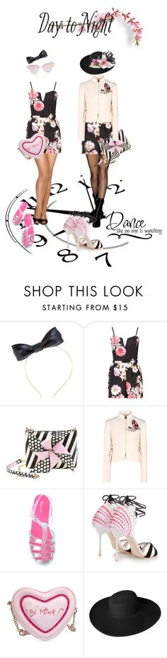 """Day to Night: Rompers"" by kari-c ❤ liked on Polyvore featuring The Season Hats, Betsey Johnson, RED Valentino, Sophia Webster, Dorfman Pacific, Le Specs, DayToNight and romper"