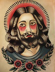 Jesus Tattoo Flash Art Print by ParlorTattooPrints on Etsy
